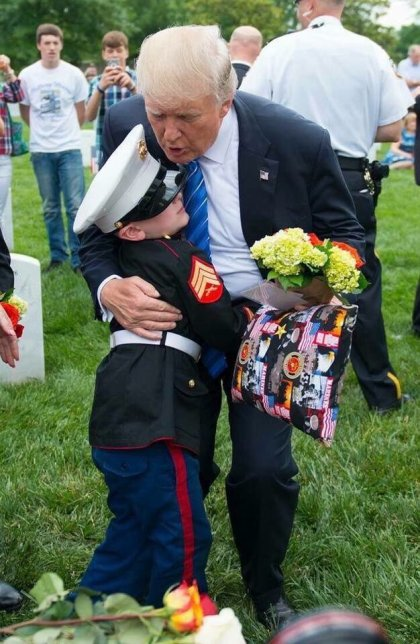 MEMORIAL_DAY_TRUMP_HUGGING_YOUNG_MARINE!