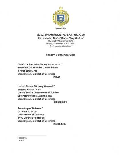 9 OCT 2019 CRIMINAL COMPLAINT filed with USSCOTUS: DOJ : DOD (page 1)