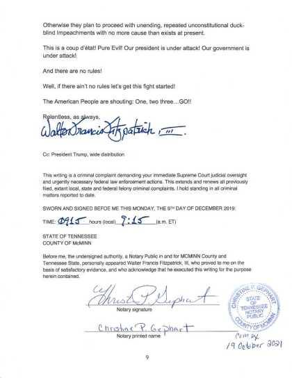 9 OCT 2019 CRIMINAL COMPLAINT filed with USSCOTUS: DOJ : DOD (page 9)